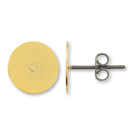 ピアス チタン丸皿 10mm ゴールド