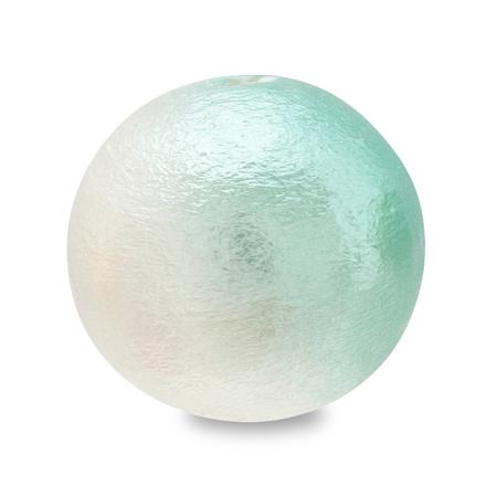 コットンパール スイートカラー 丸玉 ホワイト/アクア
