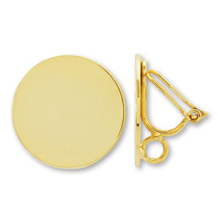 イヤリング 三角バネ式 プレート裏カン付 ゴールド