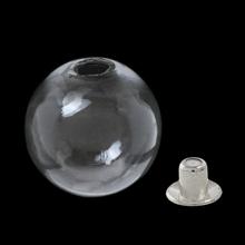 ガラスボール ピアスキャッチ付 ロジウムカラー