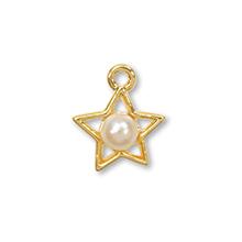 国産キャストチャーム パール付 星 ホワイト/G