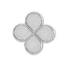 デザインミール皿 4弁花 ロジウムカラー