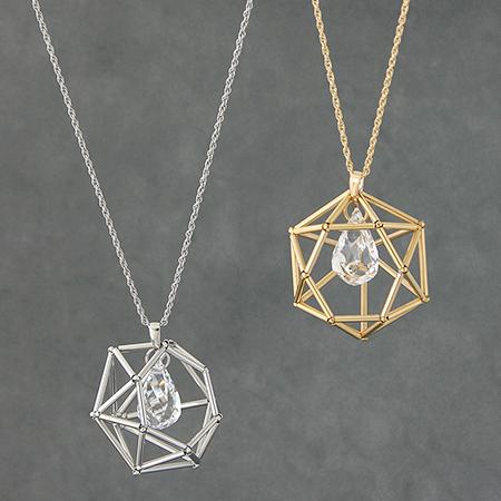 レシピNo.1357 直パイプのダイヤカットモチーフネックレス