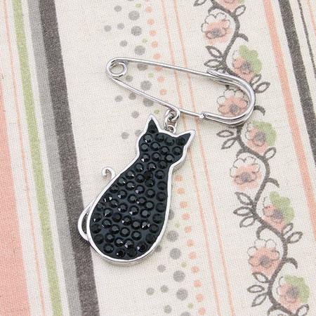 レシピNo.1415 デザインフレームとクリスタルクレイの黒ネコブローチ
