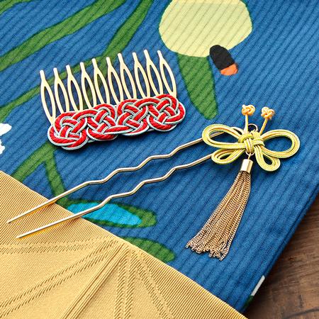 レシピNo.1649 くみひもの飾り結びヘアアクセサリー2種
